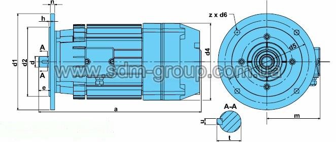 Габаритно-присоединительные размеры электродвигателей серии AK