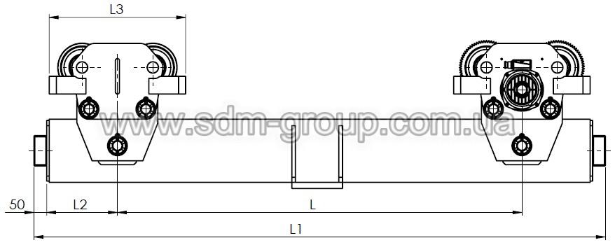 Габаритно-присоеденительные размеры концевых балок типа ЕСB