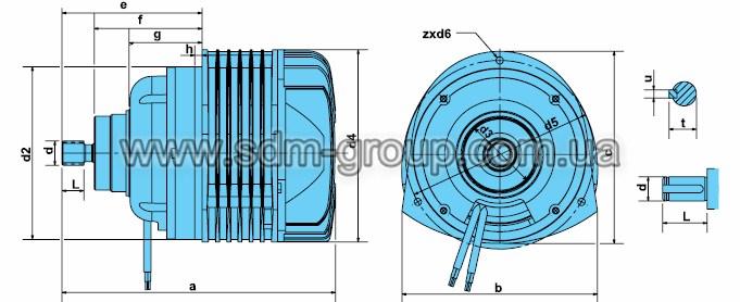 Габаритно-присоединительные размеры электродвигателей серии KG-AI