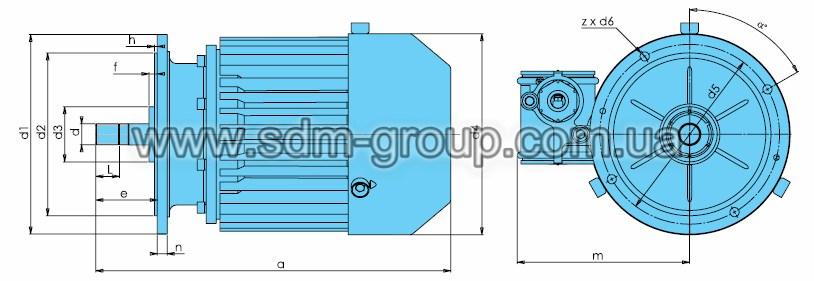 Габаритно-присоединительные размеры электродвигателей серии KV-Ex
